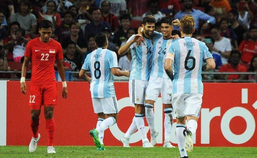 Argentina put six past hapless Singapore