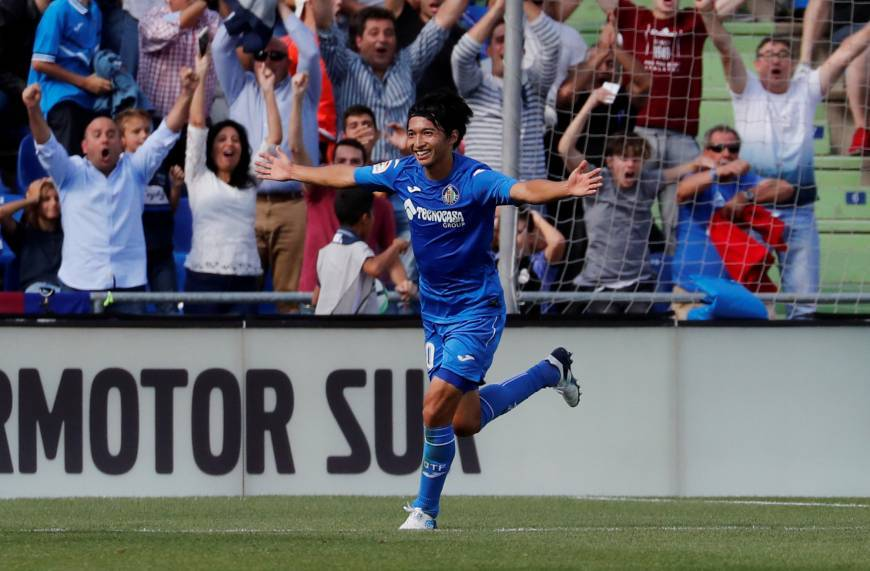Getafe's Gaku Shibasaki scored a stunning volley in La Liga clash against Barcelona
