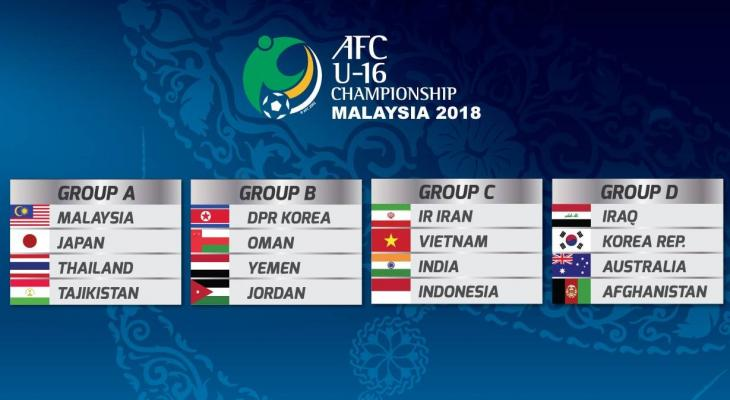 Vietnam U-16 drawn in the same group with runners-up Iran in the 2018 AFC U-16 Championship
