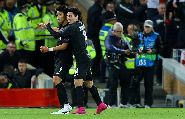 Hwang and Minamino Score at Anfield in Champions League