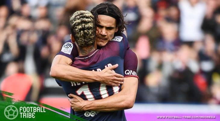 Pelukan Neymar dan Edinson Cavani dalam Kemenangan Telak atas Bordeaux