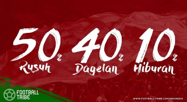 Sepak Bola Indonesia: 50% Rusuh, 40% Dagelan, 10% Hiburan