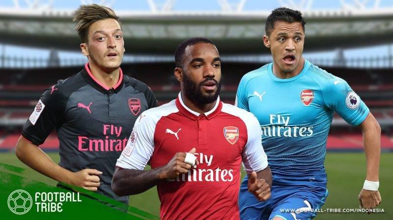 trio Mesut Özil, Alexandre Lacazette, dan Alexis Sanchez