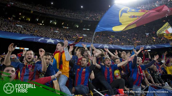 menyaksikan laga Barcelona