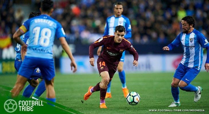 Gol 200-Juta Euro Philipe Coutinho Menangkan Barcelona di Kandang Malaga