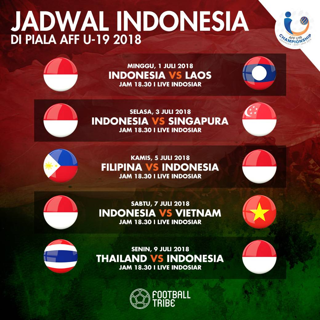 Jadwal Timnas Indonesia di Piala AFF U19 2018  Football Tribe Indonesia