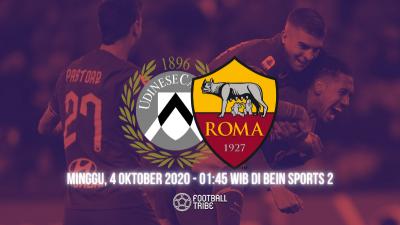 Pratinjau Laga Udinese vs AS Roma 2020/21: Il Lupi Incar Kemenangan Perdana