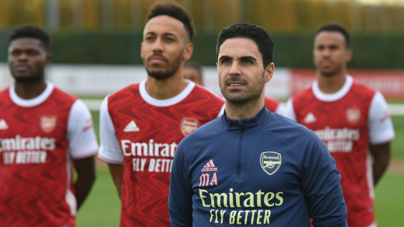 Mikel Arteta the Arsenal Manager during the Arsenal 1st team group photograph at London Colney