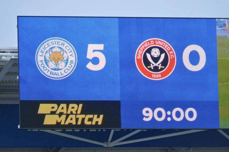 The score board at full time of the Premier League match between Leicester City and Sheffield United at The King Power Stadium on March 14, 2021 in Leicester, United Kingdom.