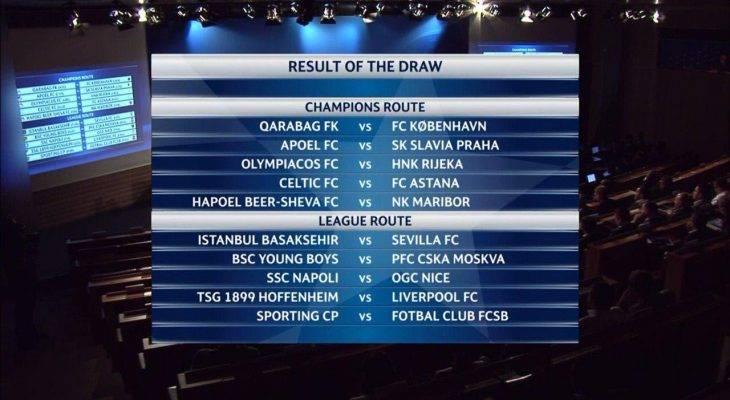 قرعه کشی مرحله پلی آف لیگ قهرمانان اروپا 18-2017