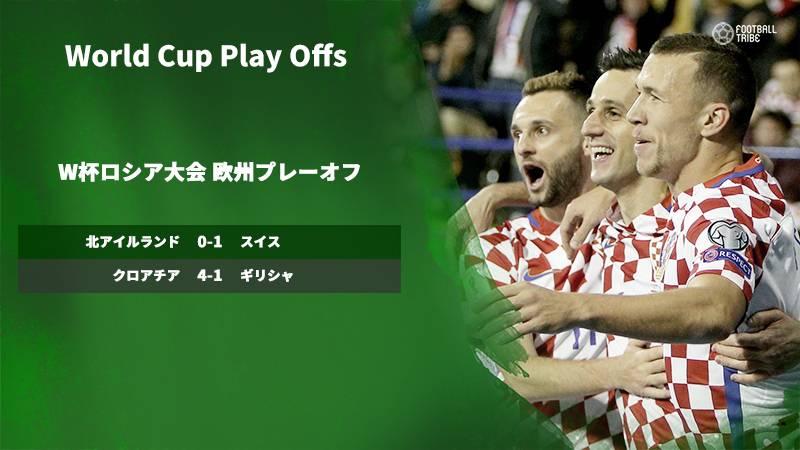 クロアチアがギリシャに4発快勝。スイスは北アイルランドとの接戦制す