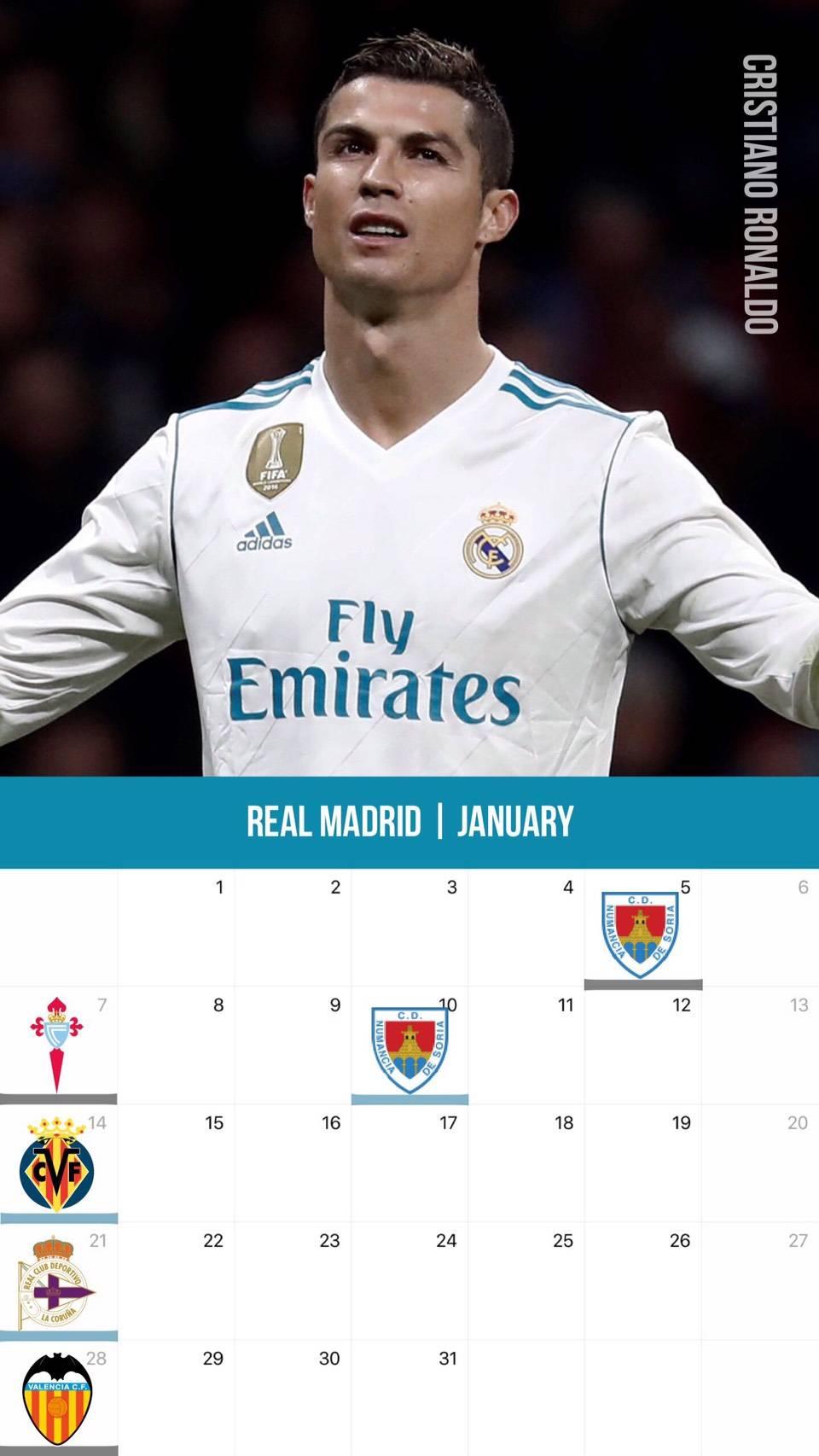 サッカー カレンダー壁紙 2018年1月版│サッカー壁紙│スマートフォン iPhone用 壁紙(全13チーム)