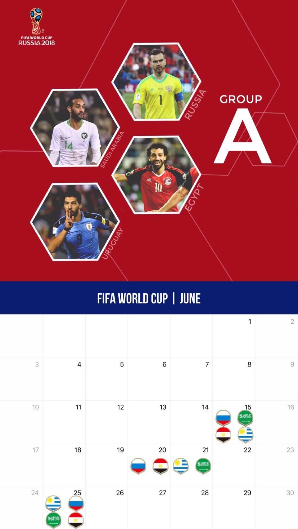 サッカー W杯仕様カレンダー壁紙 2018年6月版 サッカー壁紙