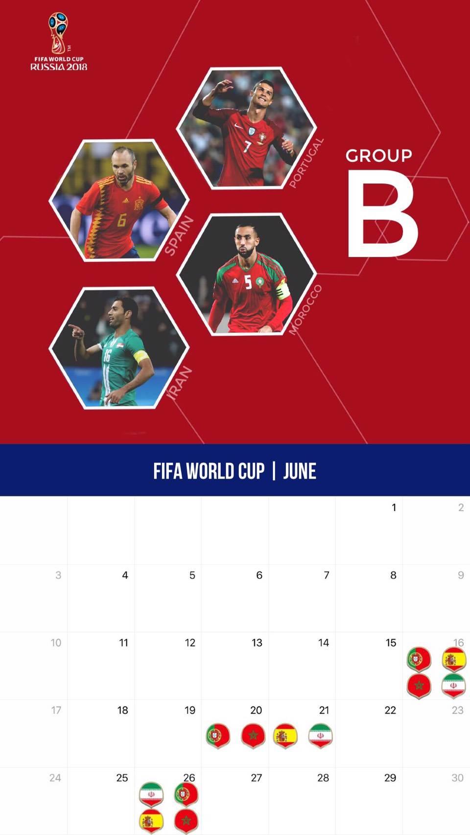 サッカー W杯仕様カレンダー壁紙 18年6月版 サッカー壁紙 スマートフォン Iphone用 壁紙 全8グループ Football Tribe Japan