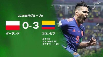 コロンビアが3得点快勝。ポーランドのGS敗退が決定
