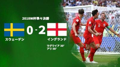 イングランド、スウェーデン下し28年ぶりのW杯ベスト4