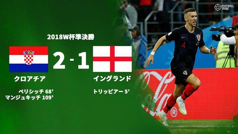 クロアチア3試合連続の延長制し、イングランド下す。史上初の決勝でフランスと激突