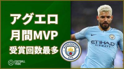 シティの点取り屋アグエロ、プレミア月間MVP受賞回数が最多タイに