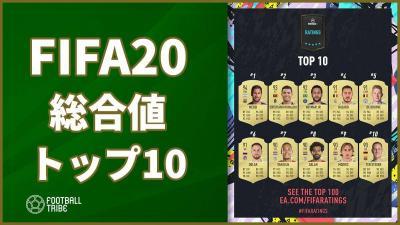 「FIFA20」総合値トップ100が公開!トップ10はこんな感じの能力に!