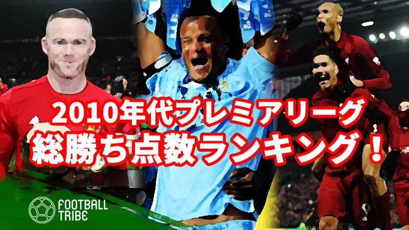 2010年代プレミアリーグで、最も勝ち点を稼いだクラブは?
