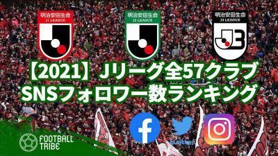 【2021】Jリーグ全57クラブ、SNSフォロワー数ランキング