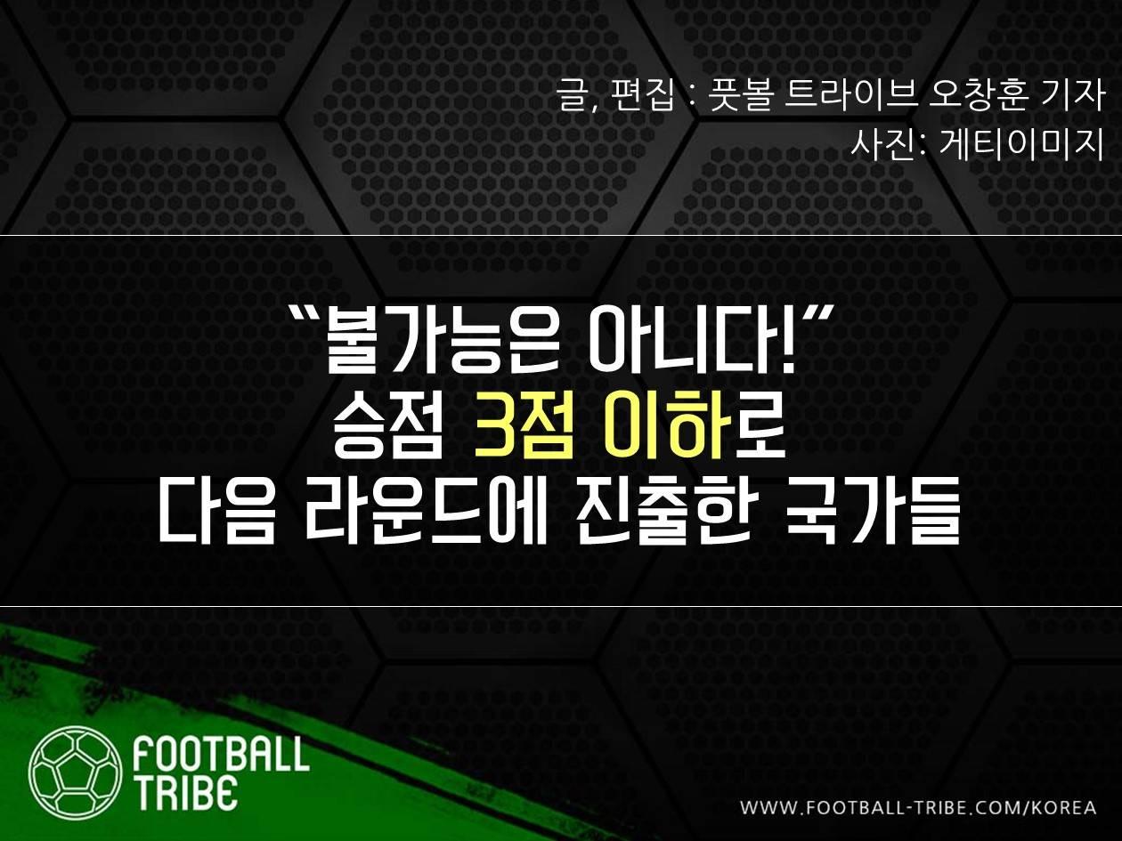 """[카드 뉴스] """"불가능은 아니다!"""" 승점 3점 이하로 다음 라운드에 진출한 국가들"""