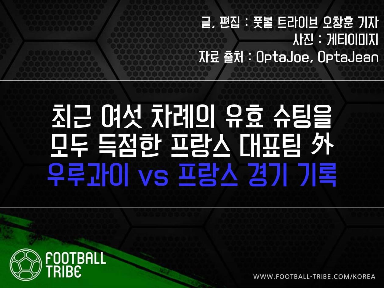 [카드 뉴스] '유효슈팅 6샷6킬' 外 우루과이 vs 프랑스 경기 기록