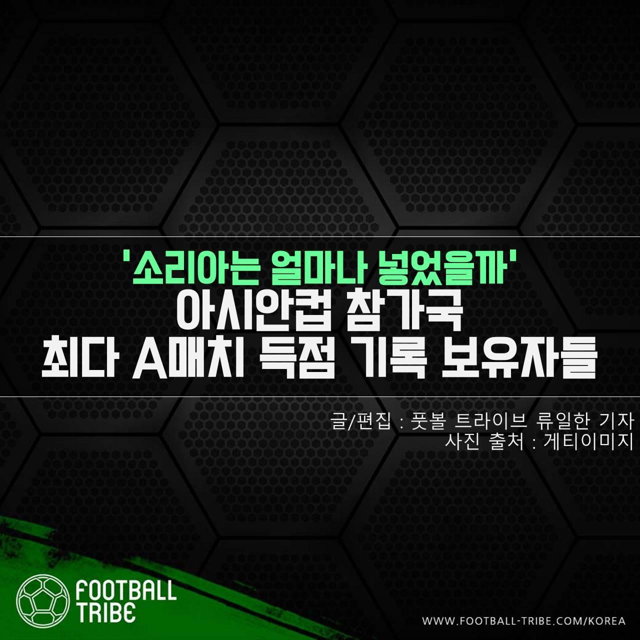[카드 뉴스] '소리아는 얼마나 넣었을까' 아시안컵 참가국 최다 A매치 득점 기록 보유자들