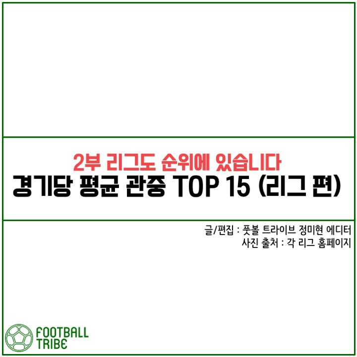 [카드 뉴스] '2부 리그도 순위에 있습니다' 경기당 평균 관중 TOP 15 (리그 편)