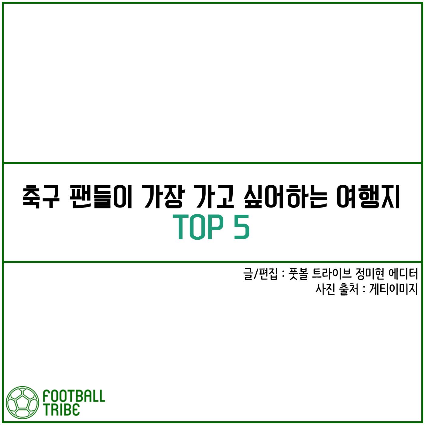[카드 뉴스] 축구 팬들이 가장 가고 싶어하는 여행지 TOP 5