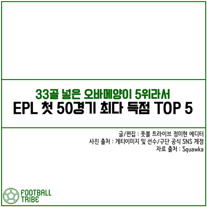 [카드 뉴스] '50경기 33골의 오바메양을 비롯해' EPL 첫 50경기 최다 득점 TOP 5