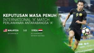 Malaysia Tewas 1-2 Kepada Syria
