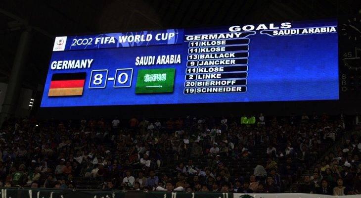 Kekalahan besar yang pernah dialami pasukan-pasukan Asia dalam sejarah Piala Dunia