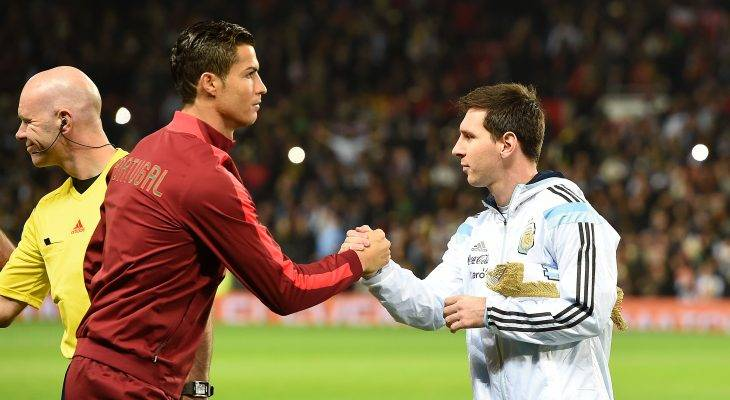 Messi and Ronaldo in a tag team bout against a new rival