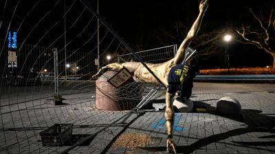 Zlatan Ibrahimovic statue finally collapse