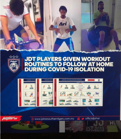 JDT WFH: footballers keep training from home