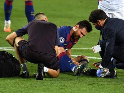 Messi's sitting out training with foot injury sustained in Napoli win as precaution sweats Barcelona big time with Bayern Munich showdown just days away