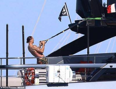 Zlatan works out on a luxury yacht