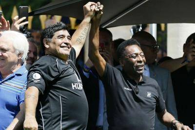 Pele and the best of the best in tribute to 'Hand of God' Diego Maradona