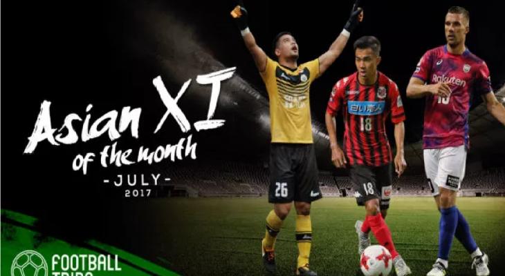 Đội hình tiêu biểu châu Á tháng 7 – Công Phượng sát cánh Podolski, Nakamura