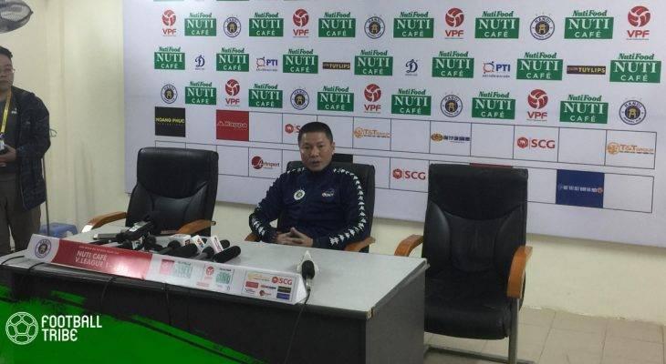 HLV Đình Nghiêm thận trọng về khả năng vô địch của Hà Nội