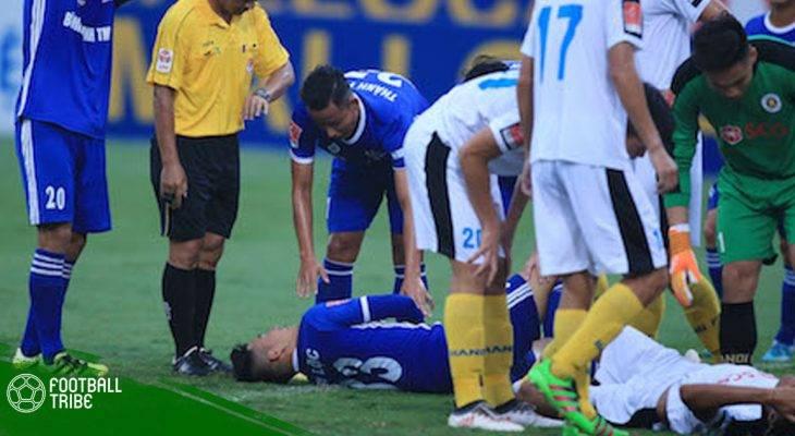 Cầu thủ hạng Nhất dính chấn thương nặng