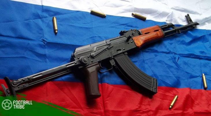 Cổ động viên Nga ăn mừng chiến thắng bằng… AK-47